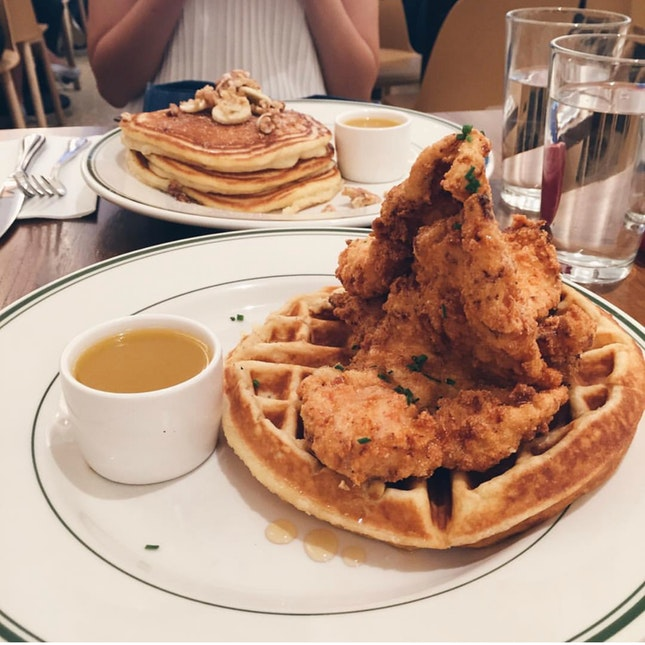 Buttermilk Fried Chicken & Waffles and Banana Walnut Pancakes with Warm Maple Butter