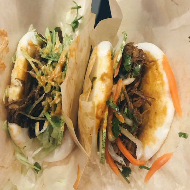 Spicy Beef and Pulled Pork Baos