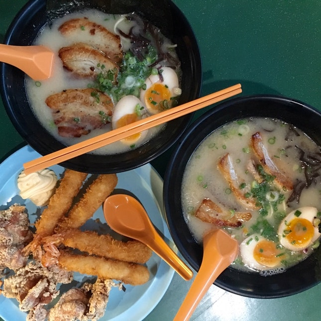 Special Tonkatsu Ramen & Ebi fry with Karaage