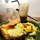 Eggs and salmon on French Toast with iced mocha!