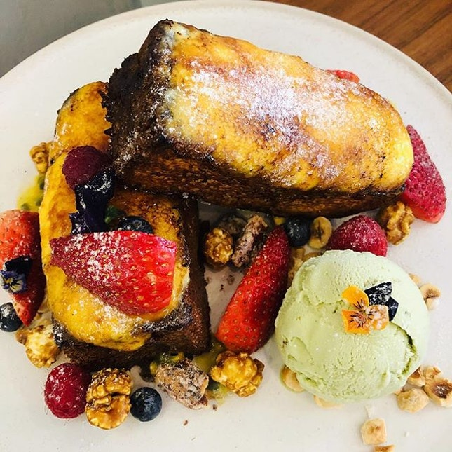 Love for french toast- Finally tried the Creme Brûlée french toast with pistachio ice cream!