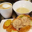 Set lunch at #Delifrance after #gym #workout -- had #tuna #croissant, #soup and a cup of #coffee -- for just $8.20!