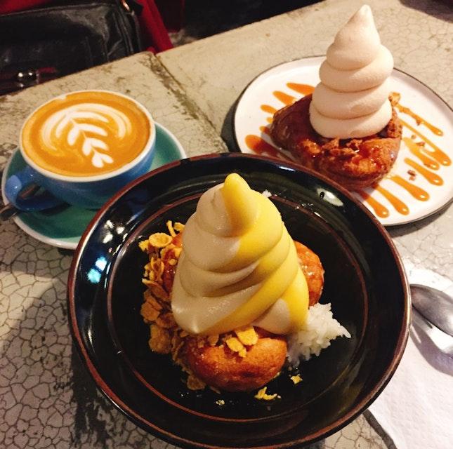 Soft serve with mochi donut