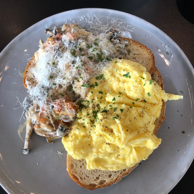 Creamy Mushrooms on Toasted Sourdough with Scrambled Eggs