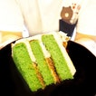 Ondeh Ondeh Cake ☻☻☻☻☻☻☻☻☻☻ Ole ole ole ole Here's a cake that's like your Oneh oneh With pandan sponge And desiccated coconut for a bit of crunch And coconut buttercream That makes the taste supreme A taste of gula melaka Which makes me go wahaha😄!