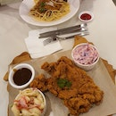 Crispy Chicken & Mushroom Cream Pasta, Crispy Chicken w 2 Sides