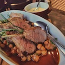 600g Welsh Lamb rack with vadouvan spiced chickpeas and carrots.