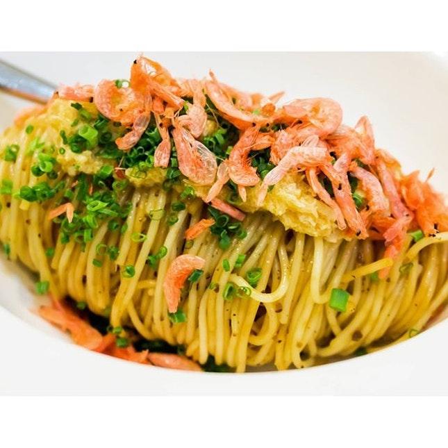 Saveur's Pasta A small serving of thin capellini pasta with chilli oil, kombu (kelp), minced pork sauce, chives and sakura ebi (mini shrimps).