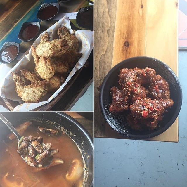 2nd stop of TTT we rode the Korean wave 🌊Healthy oven baked fried chicken that still gave you the crispiness & ohms as you sunk your teeth into the tempting chicken 🍗You were spoilt by their choice of dipping: Honey Mustard, Sweet Chilli, Mild Sauce, Spicy Sauce, Soy Sauce, Jambalaya 😘The Padi Garlic Sauced Rice Chicken brought you to the other extreme of the taste scale 😉Careful not to bite into the chilli as it was indeed spicy 😝2nd Shock of the day for me was the SILKWORM PUPAE Soup 😱I never thought I have the courage to put that yucky looking creature into my mouth but I did 😅I even chewed on it before pushing it down my throat 😂At least I tried & created this memorable food experience with the forever hungry community😜This definitely would be my first & my last as the horrible 'roach' taste & smell ain't going to be in my mouth ever again 🙅🏻 #burpple #burpplesg #tastytastemakertour