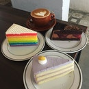 Back here again for the great Coffee & Cake deal at $10 per set ☕️🍰 Really love the cakes here 😍 Rainbow so colorful & cheerful 🌈 Black Forest so mysteriously enchanting 🌳 Yam Orh Nee so special & uniquely amazing 💜 Very very yummy cakes that are fluffy & not too sweet 😍 ☕️🍰 #burpple