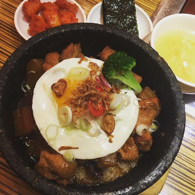Andong Jjimdak Dolsot Bap Set ($9.80 - super value lunch specials!) 🍳 Very satisfying meal with the soft potato, runny yolk, tender chicken & my beloved charred rice at the base 😜  #burpple