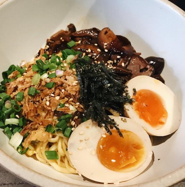Miso Mushroom Noodles ($5) + Umami Egg ($1.50)