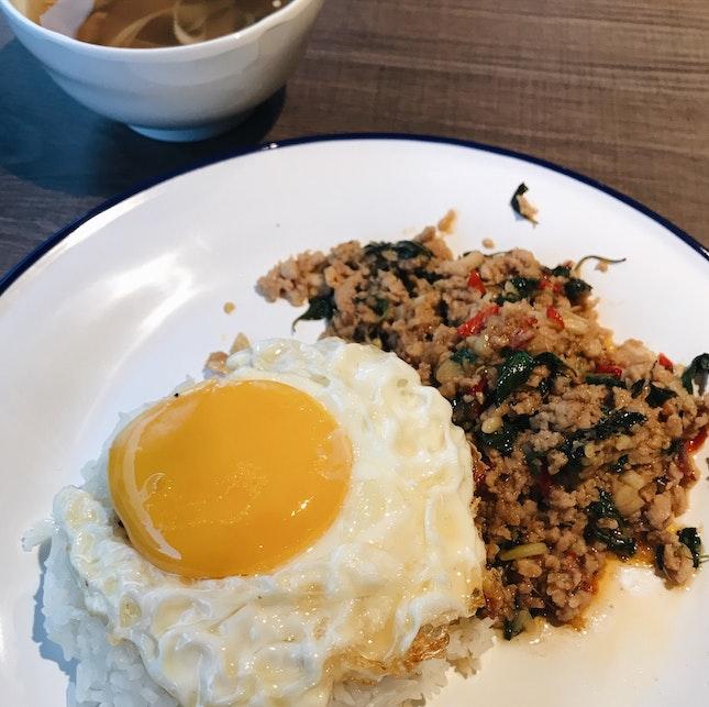 Stir-Fried Basil Minced Chicken Rice Set ($8)