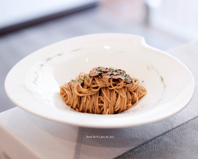 Cold angel hair pasta with summer truffles [inclusive in 3 course lunch at $39+]