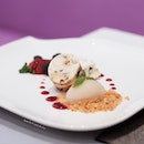 Frozen nougat with lychee sorbet [set lunch at $39++].