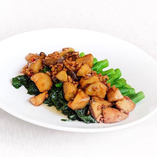 [New Menu] Stir-Fried Kai Lan with King Oyster Mushrooms, Dried Shrimps and Chilli Padi.