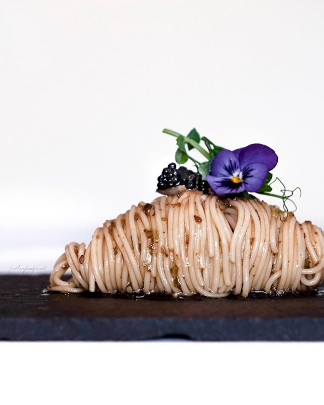 Chilled Angel Hair Pasta with Black Winter Truffle and Caviar ($68/$78 for 6/7 course Winter Menu).