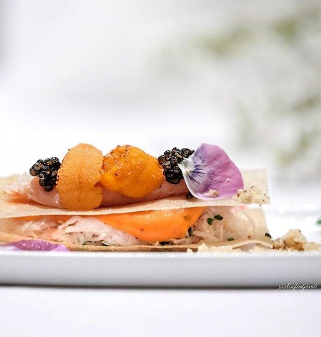 Crabmeat Sandwich with Uni (part of Spring Dinner Menu at $198++ for 7 courses).