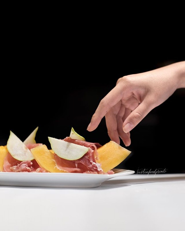 36 Months Old Parma Ham served with Melon and Pear ($26).