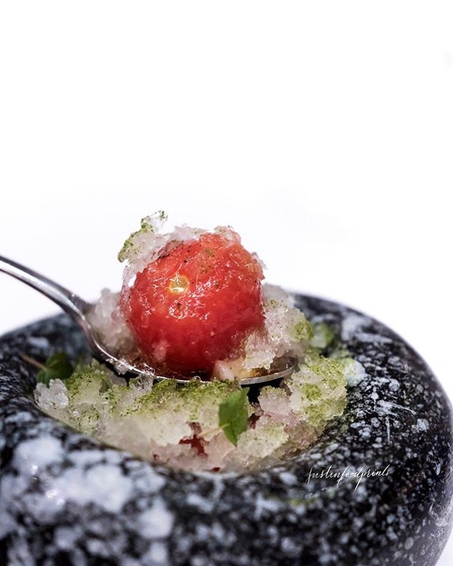 Tokutani Tomato (first course of 8 course menu at $265++ with wine pairing).