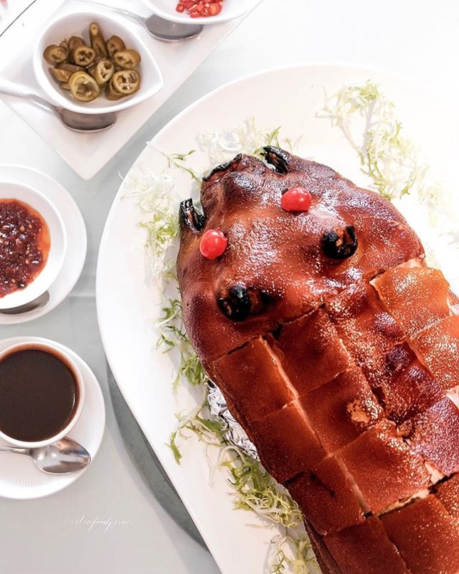 [CNY Menu] Signature Roast Crispy Suckling Pig 片皮乳猪 ($288++ for whole pig, or part of CNY set menu).