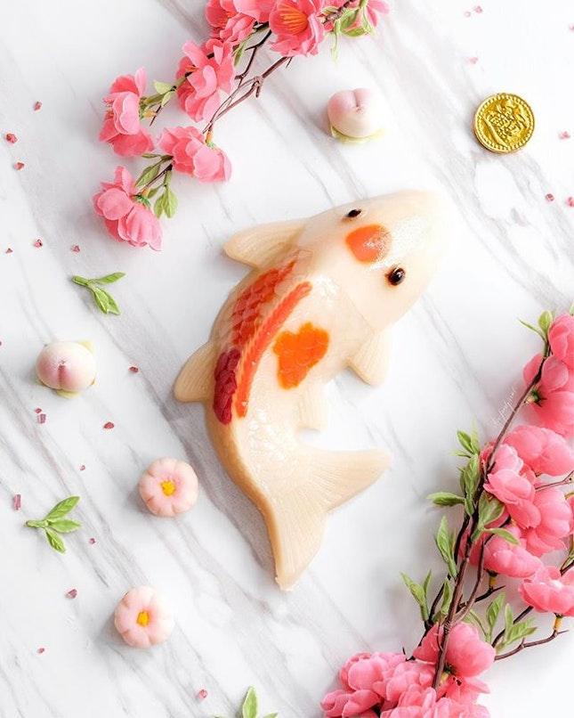 Traditional Golden Fish Coconut Milk Nian Gao, 金碧辉煌鲤鱼椰汁年糕 ($58).