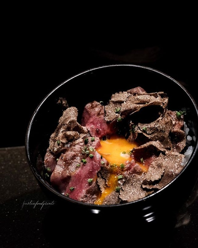 Saga Gyu Don with Truffles ($58++, or included in 8-course dinner at $168++).