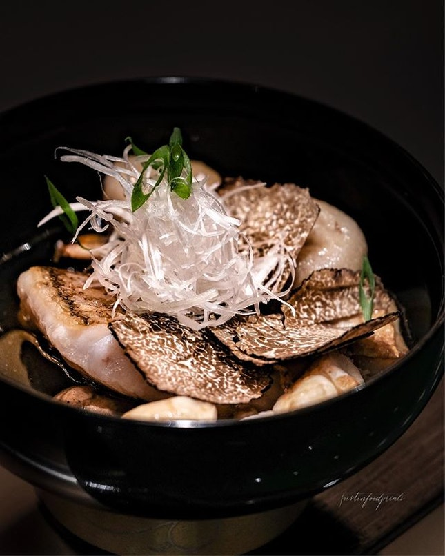 Langoustine and Tilefish with Autumn Truffles (part of Chef's Specialty 6-Course Menu at S$460/¥28,000++ per pax).