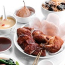 Roasted Crispy Chicken with Prawn Crackers, (脆皮虾饼吊烧鸡); Barbecued Roasted Duck (港式明炉烧鸭).