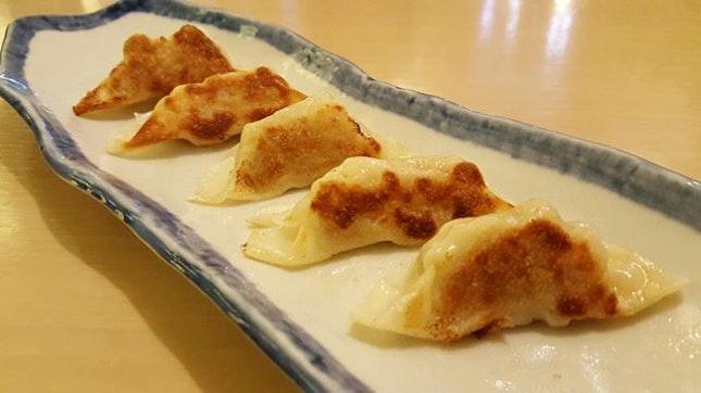 Ebi Gyoza (Pan-seared prawn and vegetable dumpling) [RM17.8] from Sushi Zanmai in JB.