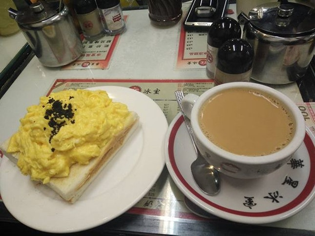 Scrambled Egg Toast w/ Hong Kong Milk Tea - a typical high tea at Hong Kong's Cafe; only to be topped with heavenly matched truffle.