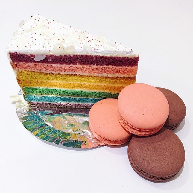 Unlike other rainbow cakes, this is not too sweet and won't get sick eating it.