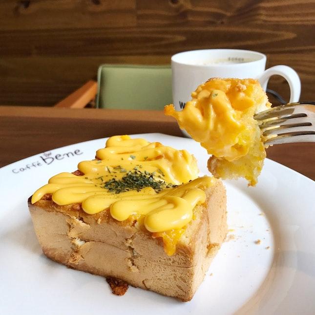 Nacho Cheese Garlic Thick Toast And Misugaru Latte