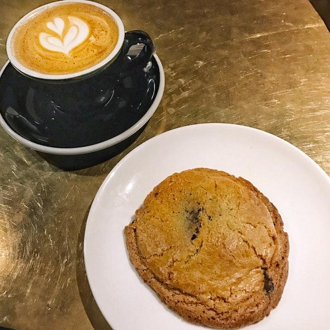 Sea Salt Chocolate Chip Cookie; Flat White