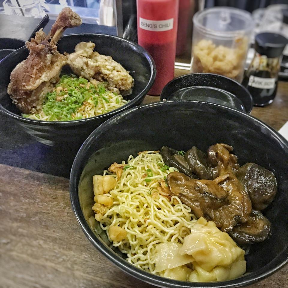 Duck Confit Noodles ($10); Braised Mushroom Noodles