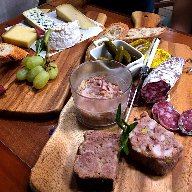 Mixed Charcuterie Platter ($38) & Assorted Cheese Platter ($30)