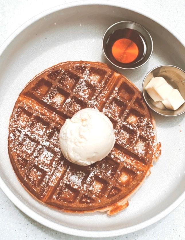 Plain waffles + vanilla ice cream