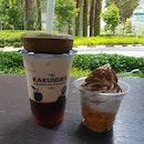 Milk Tea With Fruit Vinegar Jelly, Genmaicha Soft Serve And Matcha Doughnuts