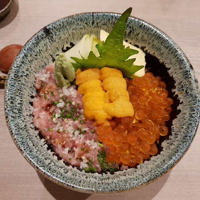 Uni, Ikura And Negitoro Trio Donburi