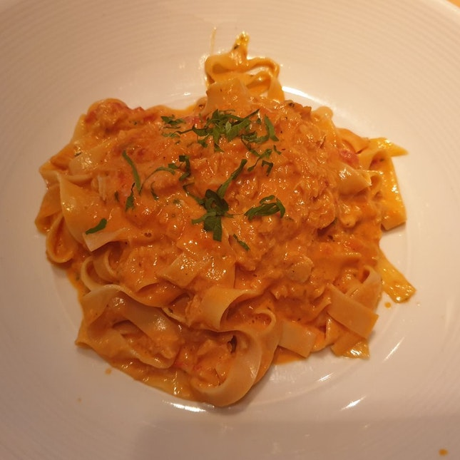 Homemade Taglietelle With Crabmeat, Tomato, Cream And Vodka Sauce