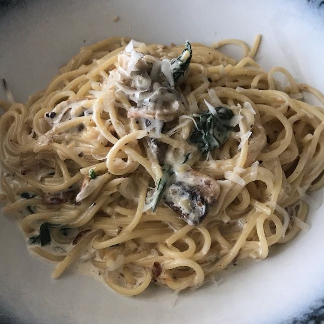 Spaghetti With Truffle Cream ($16)