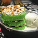 Pandan Pancake With Coconut Ice Cream SGD 8.50++.