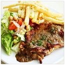 Chicken Chop with Apple Sauce, Truffles Fries & Salad thats only $8.80 from @grazie_sgm_!