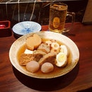 Delicious and comforting Japanese oden with daikon chunks and fish cakes in light soy dashi broth.