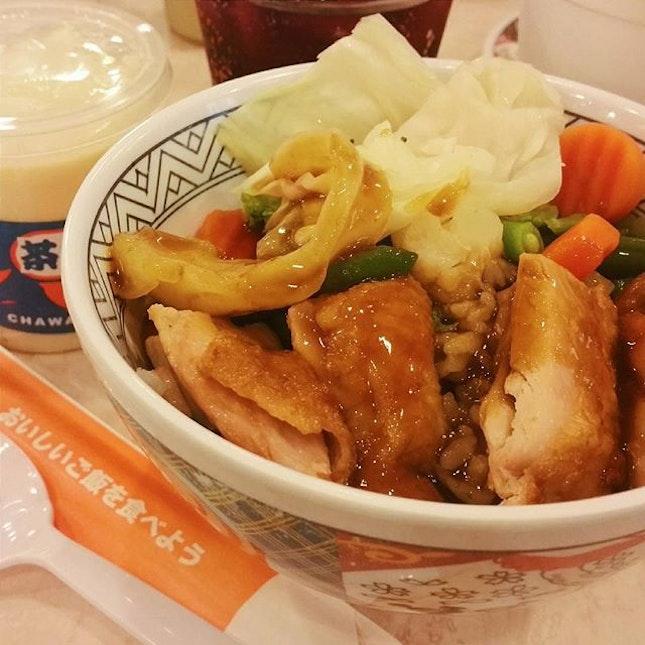 A bowl full of happiness Yoshinoya's teriyaki chicken bowl.