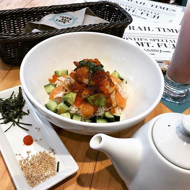 Kaisen Avocado Don ($18) and Sagahonoka Strawberry Seasonal Yoghurt Drink ($6.20) @japanrailcafe ..