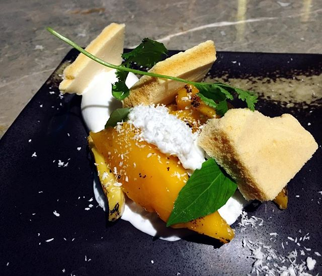 Caramelised mango and textures of coconut.
