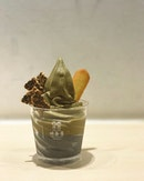 Black sesame with Hojicha for an iced cold treat on a bright sunny CNY day 3.