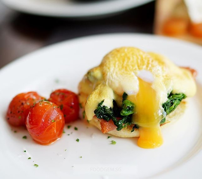 A brunch menu would not be complete without eggs benedict.