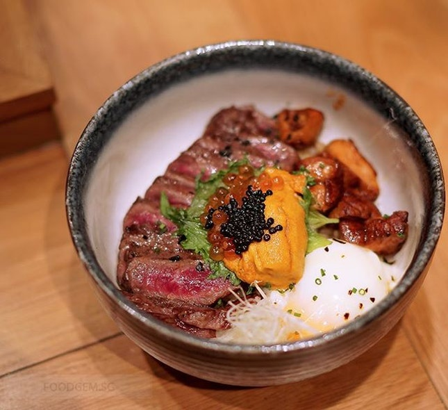 The fat cow premium donburi features a range of premium ingredients such as sliced wagyu steak on rice, uni, caviar, foie gras and onsen egg.